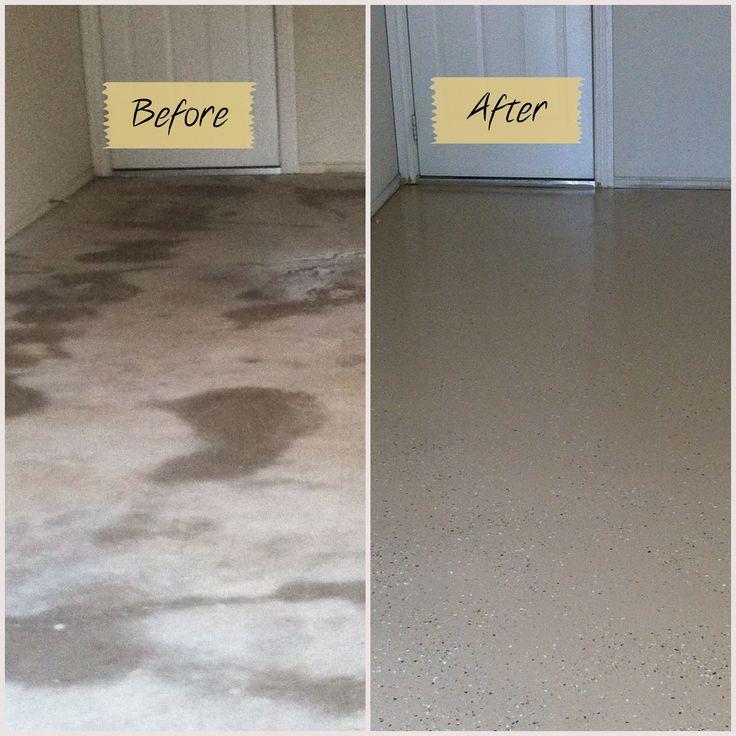 Epoxy floor coatings calgary garage epoxy solo epoxy for Before and after flooring